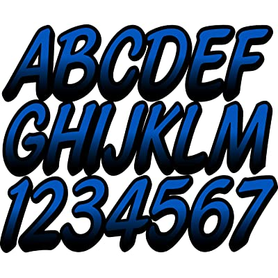 "Stiffie Whipline Blue/Black 3"" Alpha-Numeric Registration Identification Numbers Stickers Decals for Boats & Personal Watercraft: Automotive"