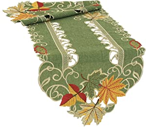 Xia Home Fashions Delicate Leaves Embroidered Cutwork Fall Table Runner, 15 by 72-Inch