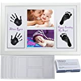 """Gimars DIY Large Safety Ink Pad & 4x6""""Baby Handprint Footprint Photo Frame Kit with 6 Sheet Thicker Paper to Create Baby's Prints - A Perfect Baby Shower Gift"""