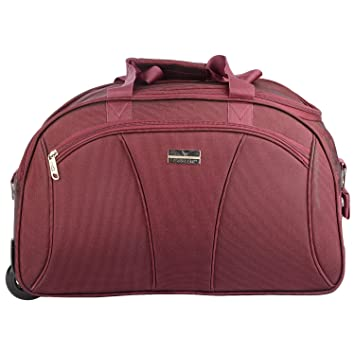 c8bf183b65 EMBLEM Leo 51 cm Red Airport Travel Luggage Maroon Duffle Trolley Bag with 2  Wheel  Amazon.in  Bags