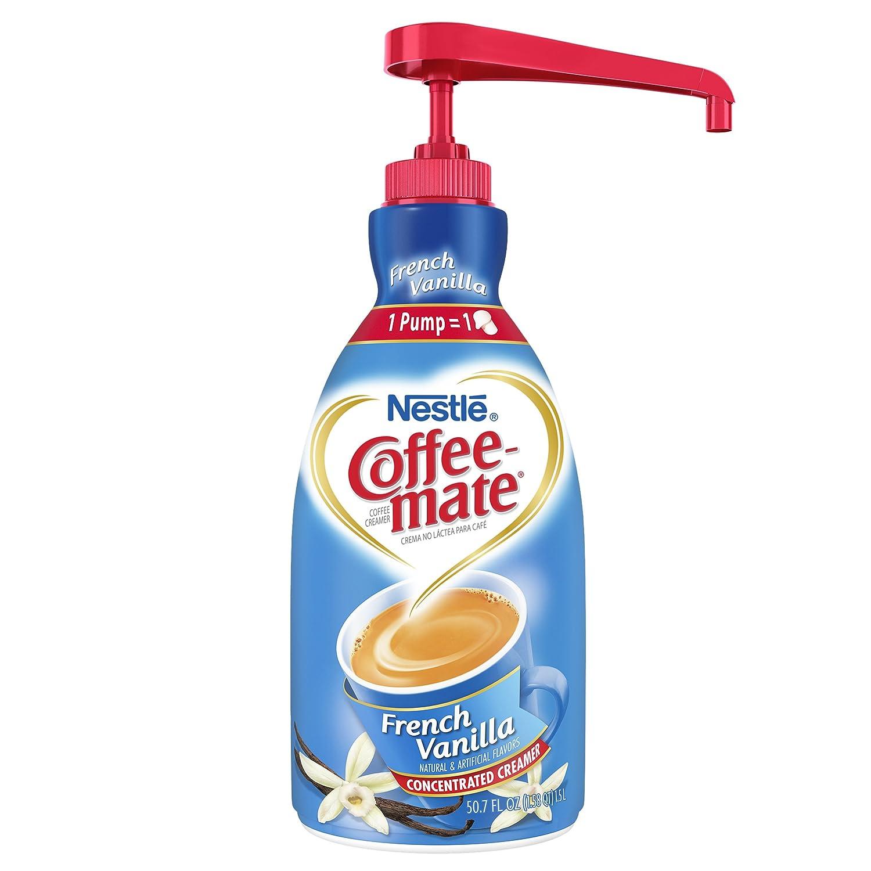 Nestle Coffee-mate Coffee Creamer, French Vanilla, Liquid Pump Bottle, 50 7  Fl  Oz (Pack of 1)
