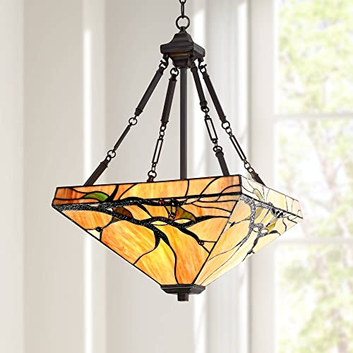 Bronze Pendant Chandelier 17 Wide Tiffany Style Budding Branch Triangle Stained Glass 3-Light Fixture for Dining Room House Foyer Kitchen Island Entryway Bedroom Living Room – Robert Louis Tiffany