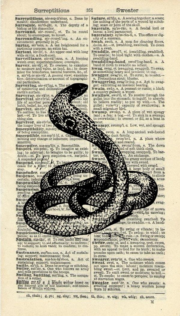 COBRA SNAKE ART PRINT - VINTAGE ART PRINT - ANIMAL Art Print - WALL ART - Illustration - Vintage Dictionary Art Print - Wall Hanging - Home Décor - Housewares - Book Print - 302B Vintage Reflectionz