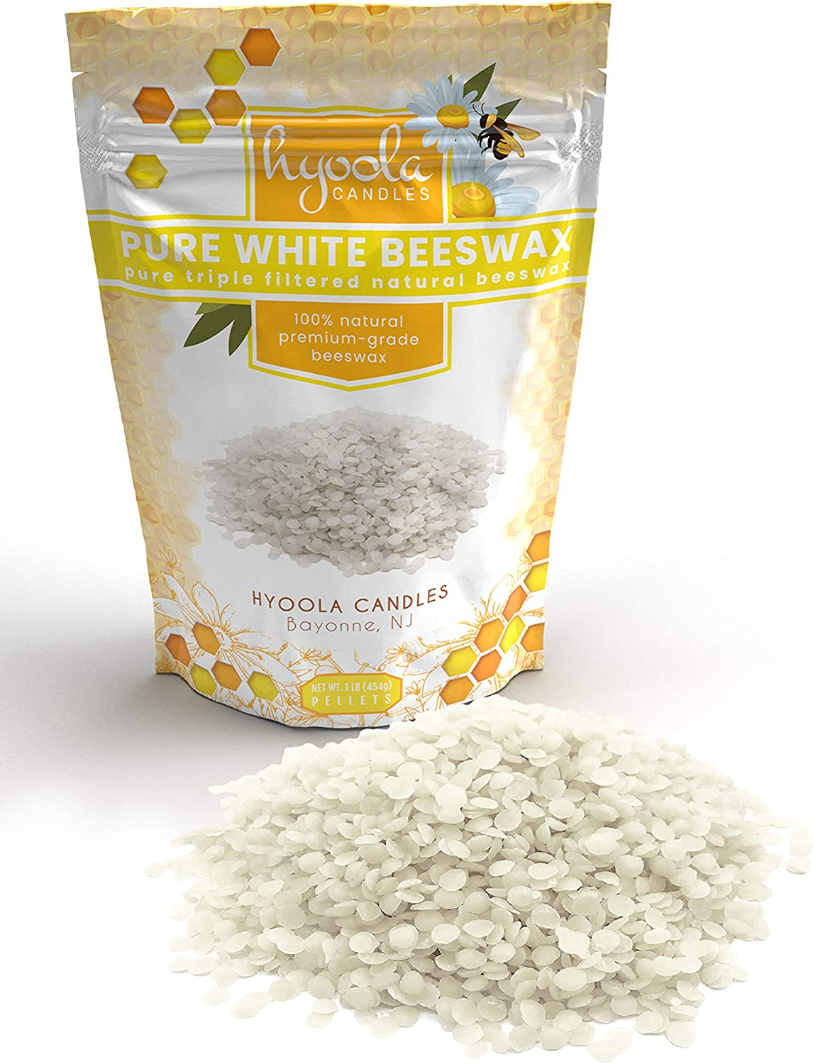 Hyoola White Beeswax Pellets - 100% Natural - Premium Cosmetic Grade - Pure Beeswax Pellets - 1 Pound - Triple Filtered Easy Melt Bees Wax Pastilles