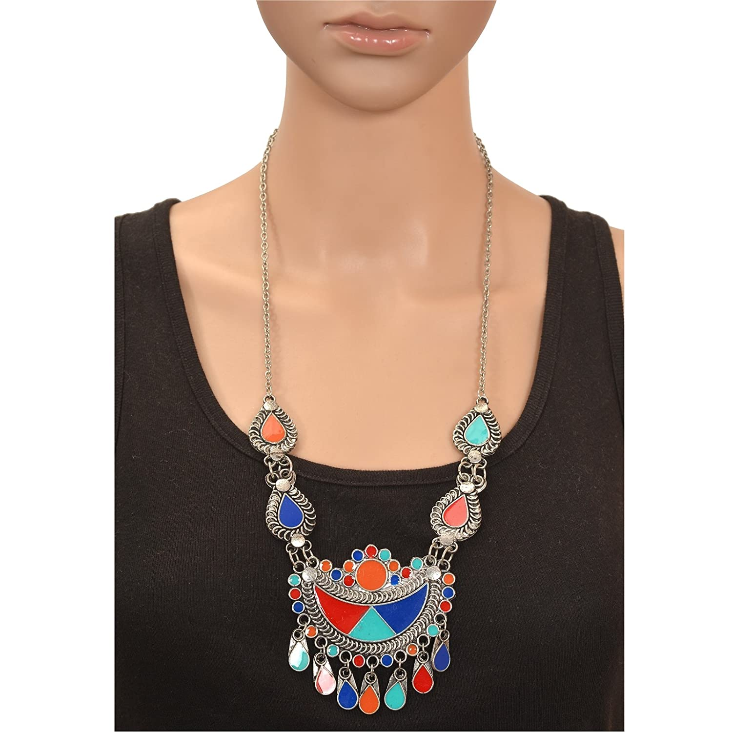Color Lane Combo Afghani Oxidized Silver Jewelry Set and Necklace Enamel CO-1155