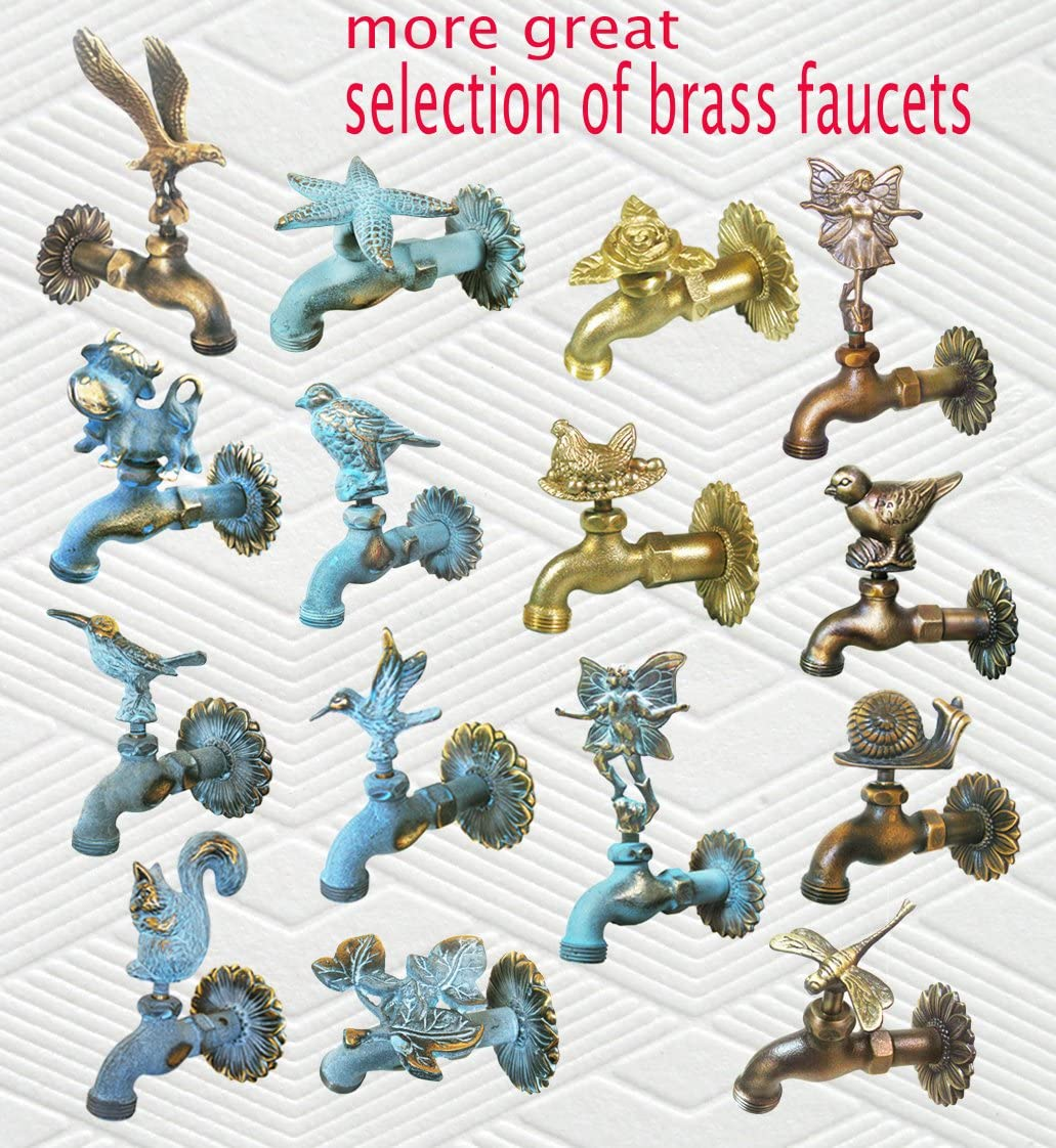 With a Brass Connecter Brass Bird Garden Outdoor Faucet