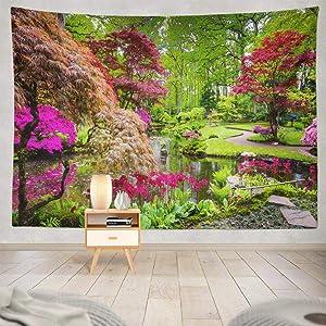 KJONG Traditional Japanese Garden Garden Flower Japanese Color Nature House Park Spring Landscape River Lake Decorative Tapestry,60X80 Inches Wall Hanging Tapestry for Bedroom Living Room