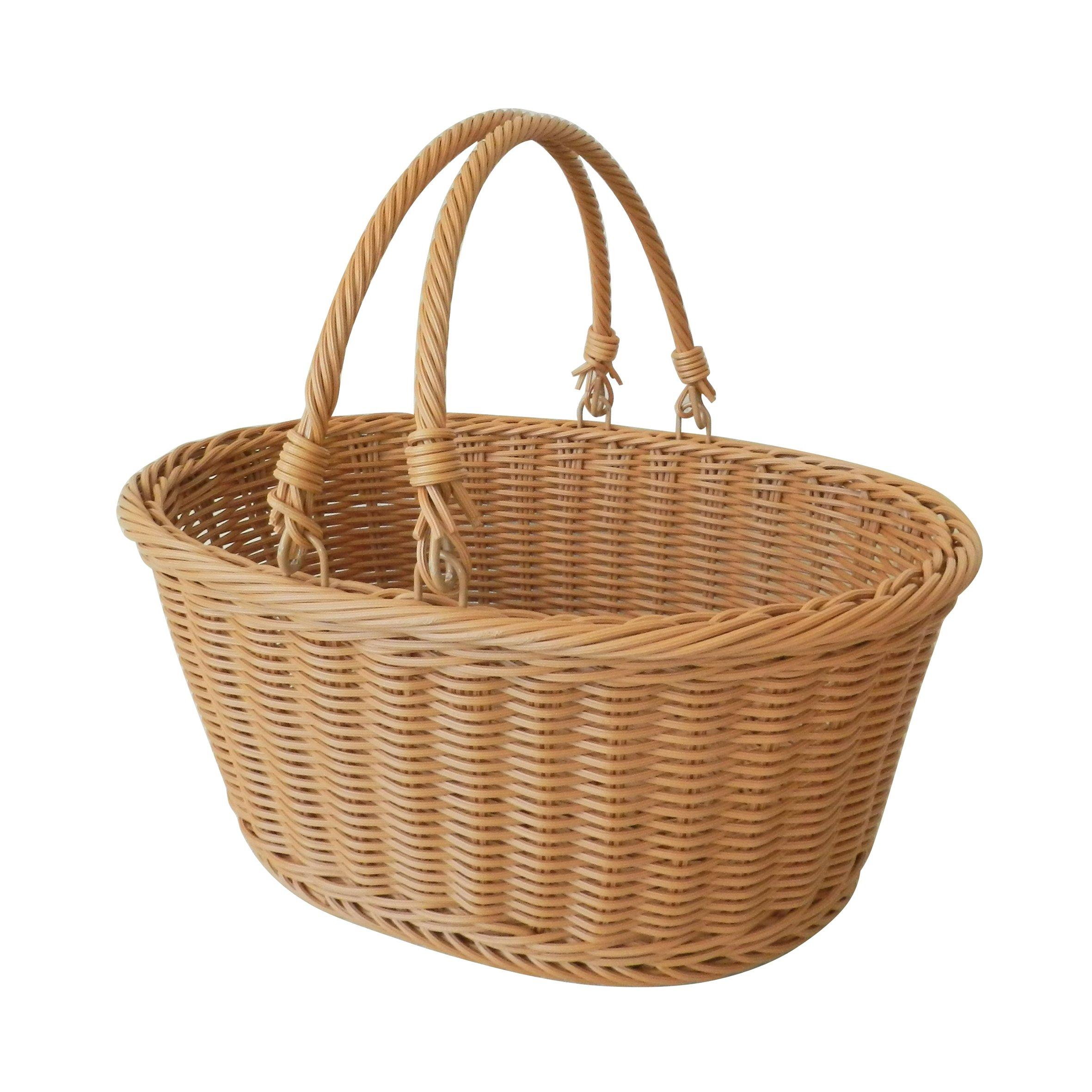 CVHOMEDECO. Oval Imitation Rattan Storage Basket Shopping Basket Market Basket with Swimming Handle Resin Wicker Picnic Basket.Light Brown. 14''X11''X6-1/2 H