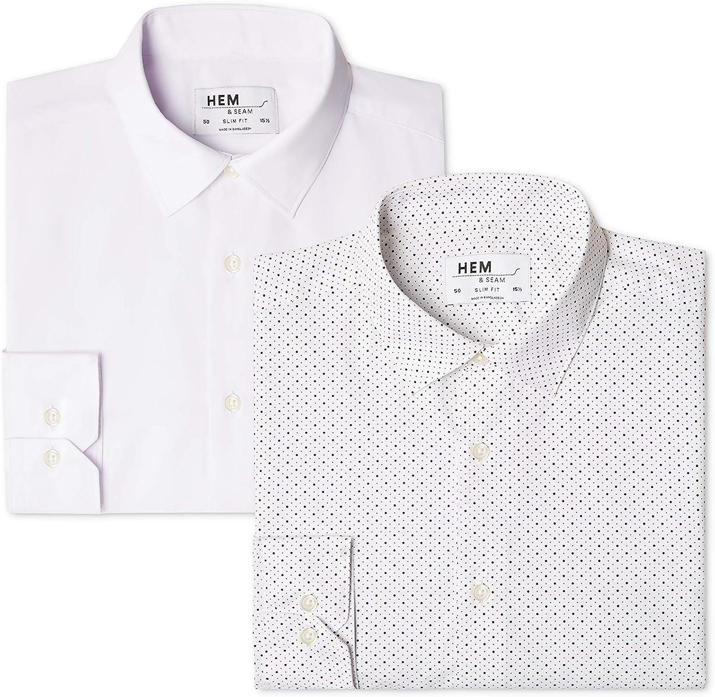 38 cm Camicia Gingham Slim Fit Uomo Mehrfarbig find Pacco da 2 Marchio Gingham Black // White Label:S