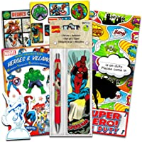 Marvel Superhero Gel Pen & Bookmark with Over 296 Stickers Featuring Spiderman, Captain America, Thor, Iron Man and More…