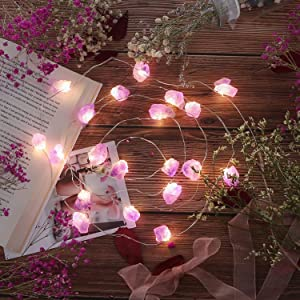 Nature Amethyst Crystal Raw Stones Decorative String lights 6.5ft 20LEDs with Remote Control, Hanging Healing Reiki Ornaments Battery Operated for wedding décor Father's day, St. Valentine, Home décor