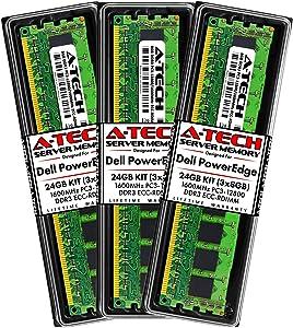 A-Tech 24GB (3x8GB) RAM for Dell PowerEdge R320, R420, R420XR, R520, R620, R720, R720XD, R820, R920 | DDR3 1600MHz ECC-RDIMM PC3-12800 1Rx4 1.5V ECC Registered DIMM Server Memory Upgrade Kit