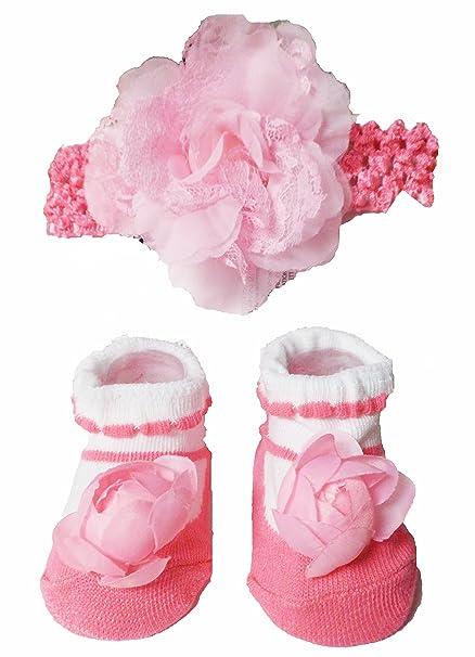 Bebé niñas Cute Rosa calcetines, diseño de zapatos con rosas y encaje diadema Set –