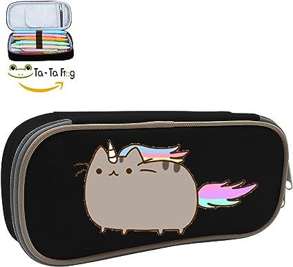 Estuche, Pusheen unicornio gato homecube gran capacidad lápiz bolsa bolsa de maquillaje duradero estudiantes papelería con doble cremallera: Amazon.es: Oficina y papelería