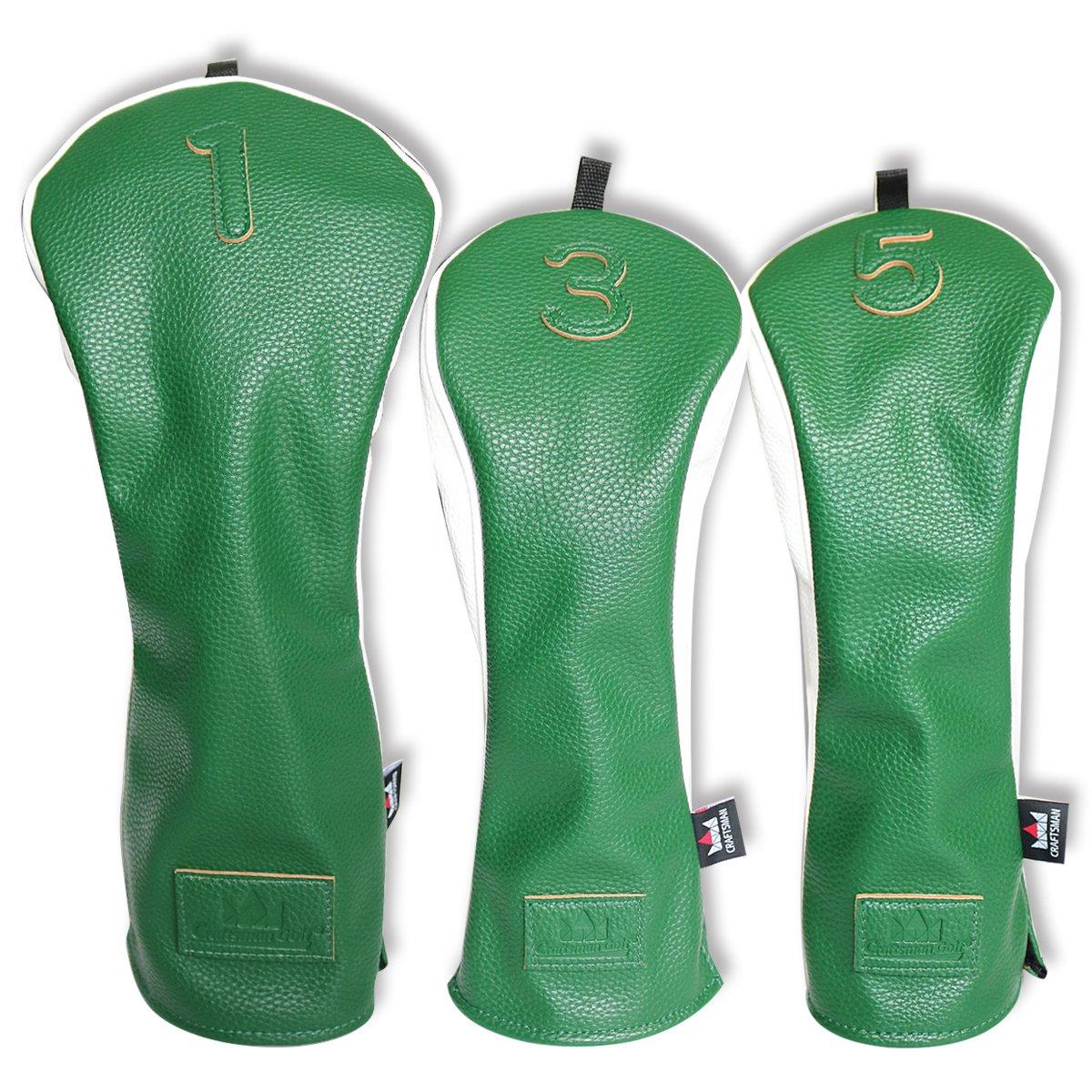 Craftsman Golf 3ピース3dデザイン# 1 # 3 # 5フェアウェイウッド用ヘッドカバー460 ccドライバーレザースタイルヘッドカバーセットのテーラーメイド、Callaway、Titleist、Ping Nike Yamaha  Green & White B01LF3KUJG