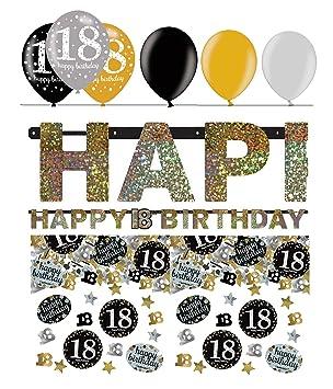 Servietten Luftballons 80 gold schwarz Feier Deko Set Konfetti Geburtstag