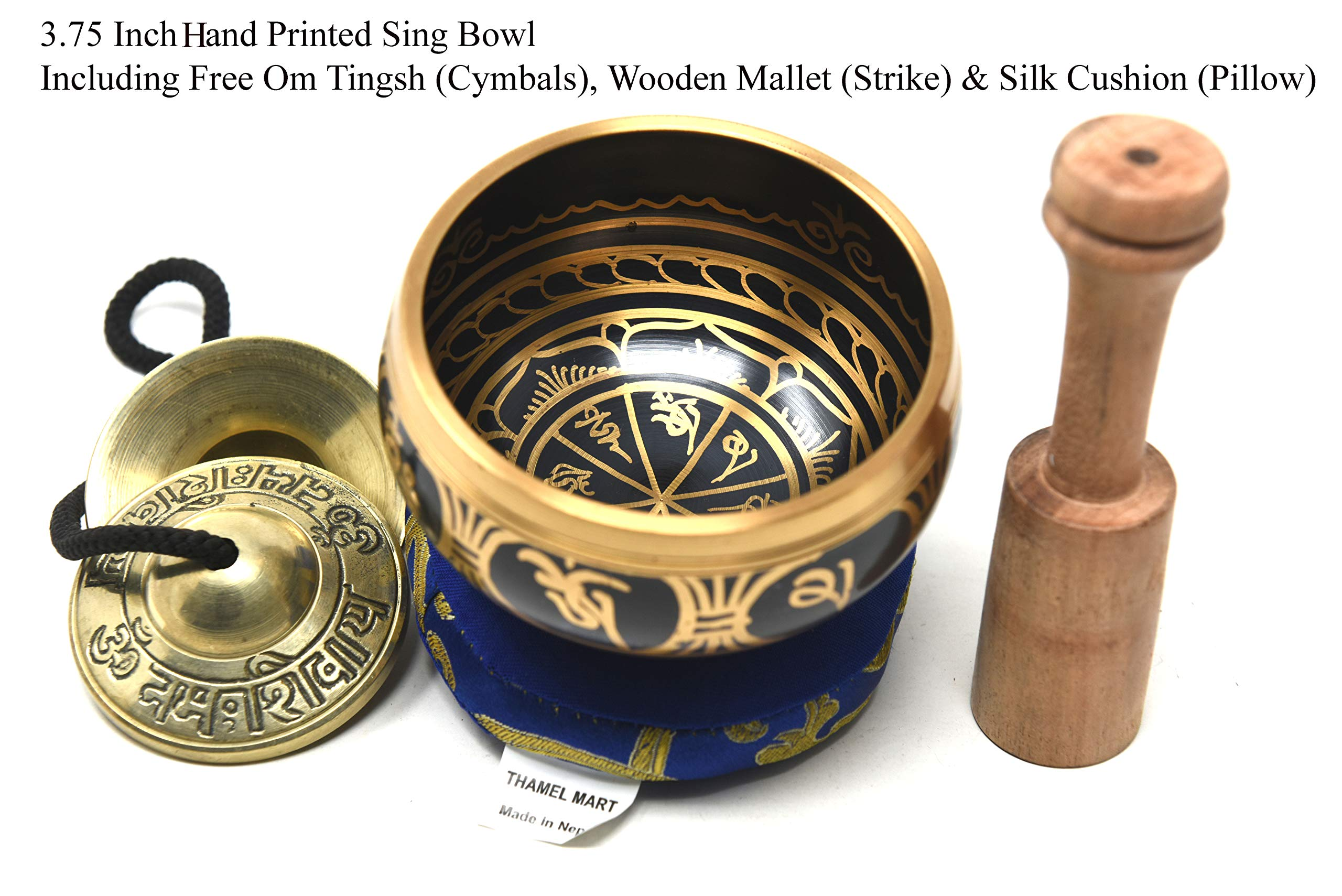 3.75'' Exquisite Tibetan Singing Bowl Set for Meditation ~ Mantra Symbols Painted ~ Om Nava Sivaya Tingsha Cymbals~ Silk Cushion & Wooden Mallet Included ~Handmade in Nepal by Thamelmart