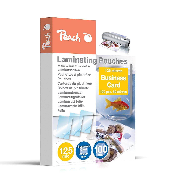Peach PP525-08 Laminating Pouches Business Card, 60 x 90 mm, 125 ...