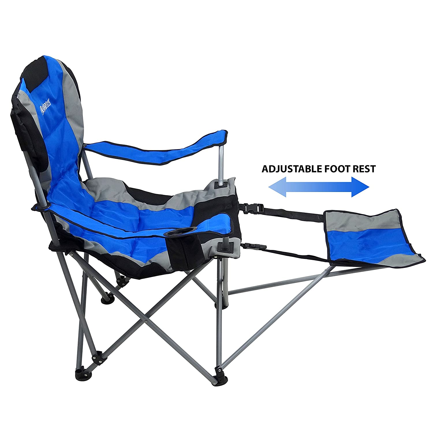Amazon.com : Outdoor Quad Camping Chair   Lightweight, Portable Folding  Design   Adjustable Footrest, Cup Holder, Storage Carrying Bag   Durable  Material, ...