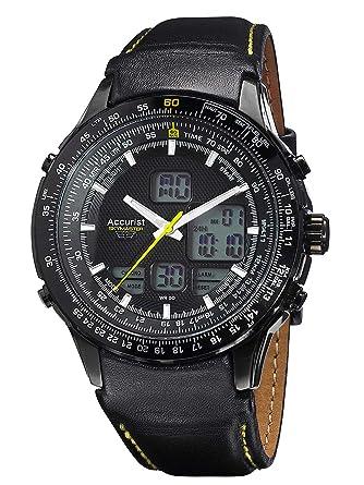 accurist skymaster mens analogue digital watch black leather accurist skymaster mens analogue digital watch black leather strap ms930by
