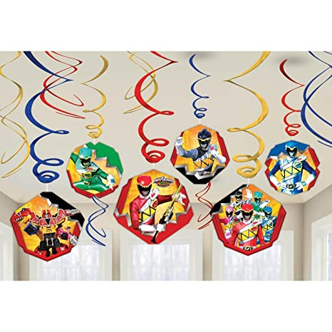 Amscan Power Rangers Dino Charge Birthday Party Foil Swirl Decorations  Value Pack (12 Piece)