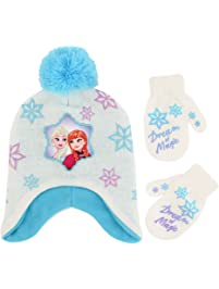 8fd2f9b03f8 Disney Girls  Toddler Frozen Elsa and Anna Hat and Mittens Cold Weather Set