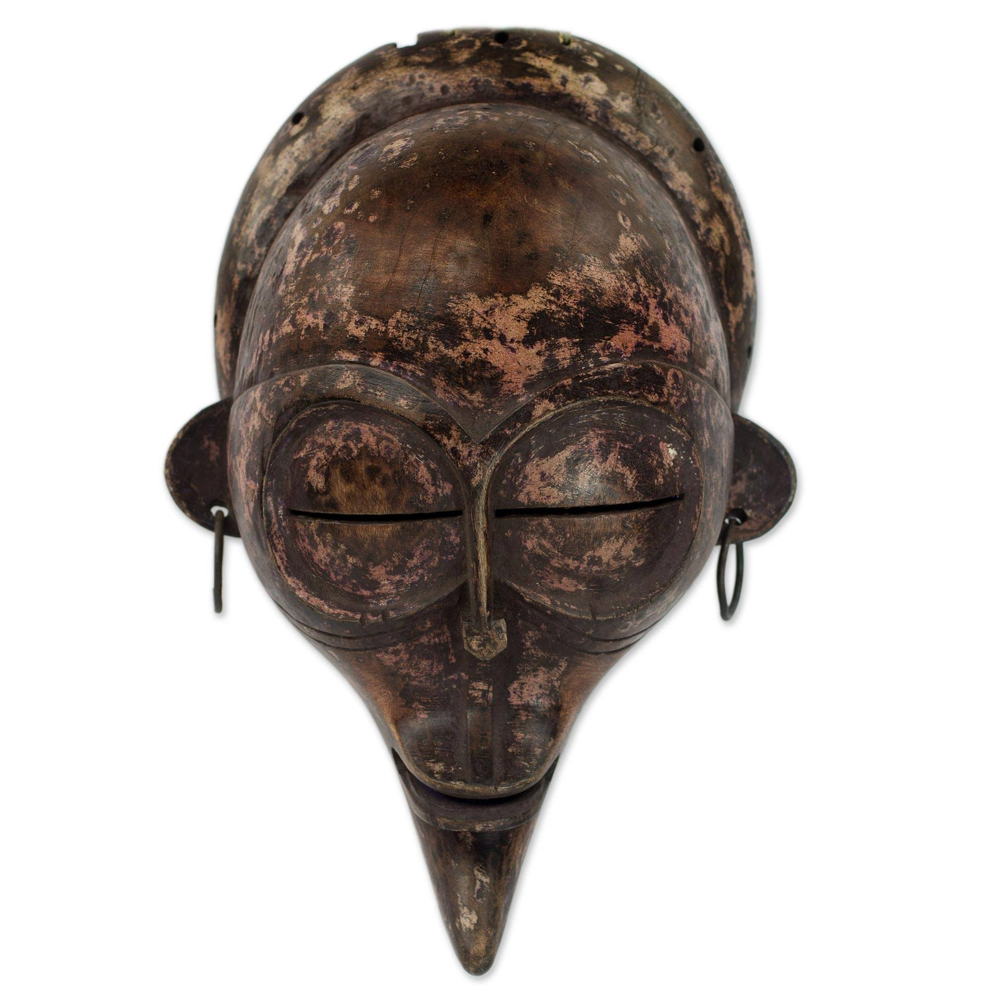NOVICA Congo Zaire Wood Mask, Brown Metal 'Baluba Hunter'