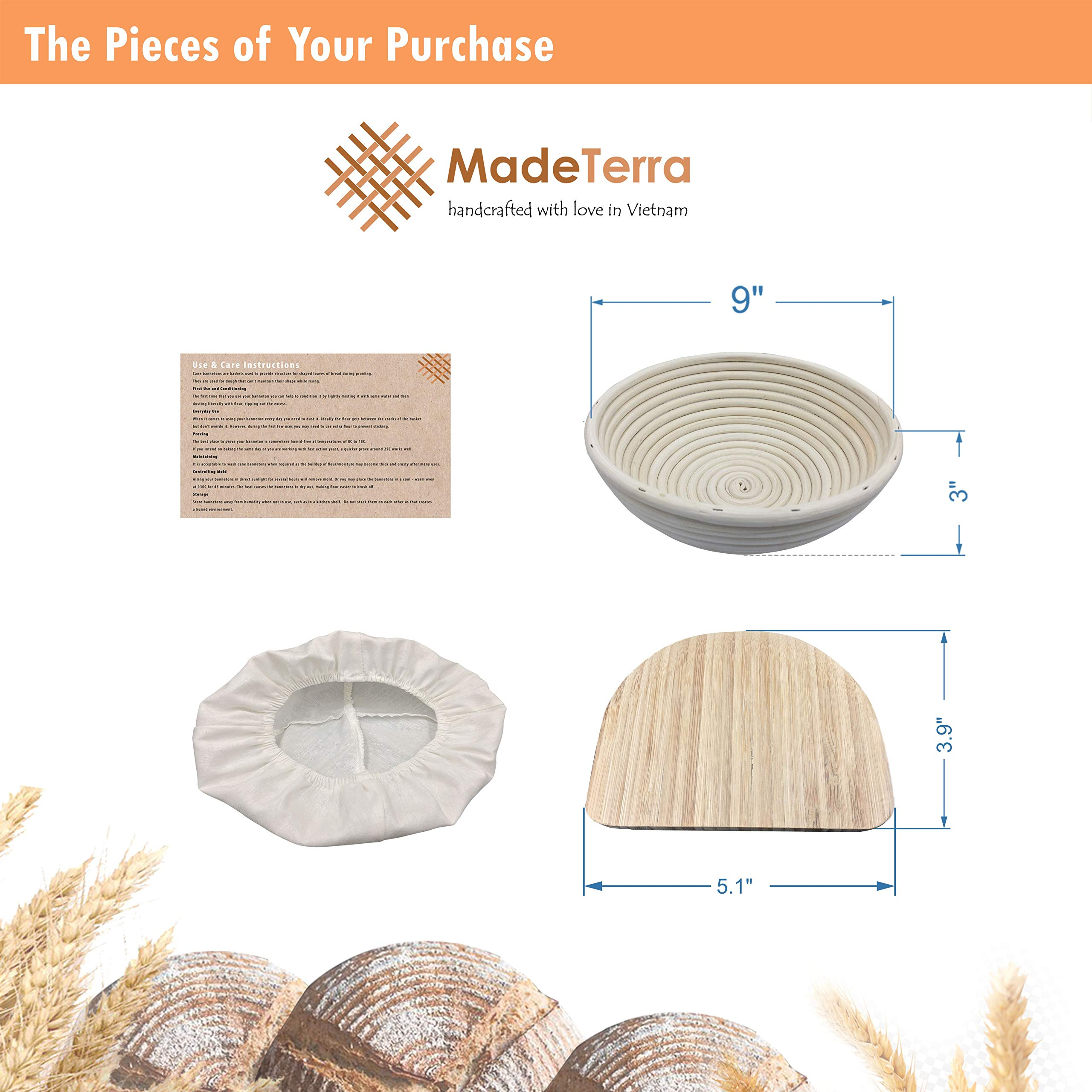 9 inch Banneton Proofing Baskets for Sourdough Bread | Wicker Round Brotform Set with Bamboo Dough Scraper & Cloth Liners | Food-Safe Cane Bread Proofer for Rising (3 Pack 9'' Round Bannetons) by Made Terra (Image #4)