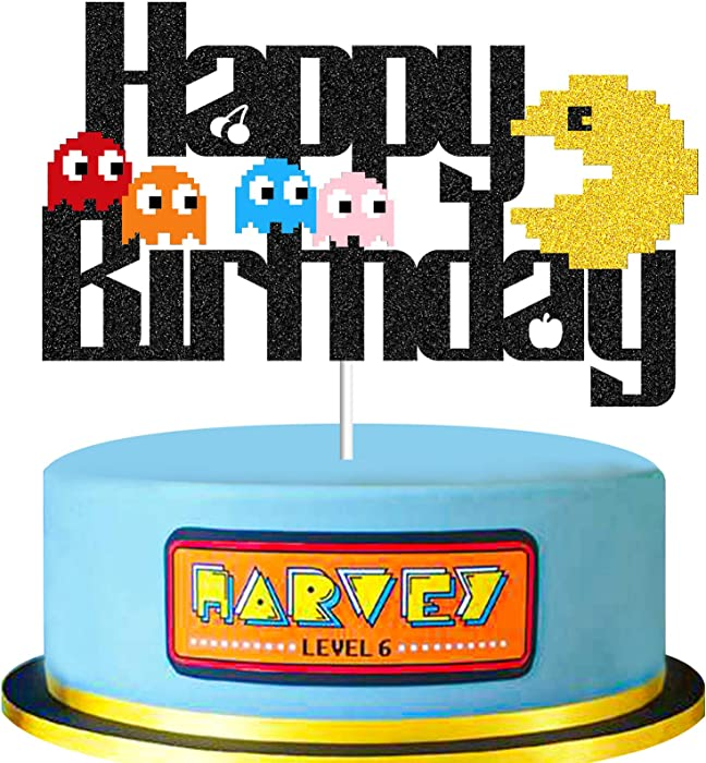 TAVOTA Pac-Man Birthday Cake Topper - 80s Arcade Theme Happy Birthday Cake Decorations Cartoon Retro Video Game Theme Birthday Decors for Boys Girls (Double-sided & Black Glitter)