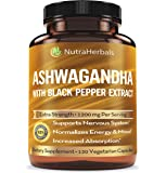 Organic Ashwagandha Root Powder 1200mg - 120 Pullulan Organic Capsules - Ashwaganda Supplement – Black Pepper Extract…