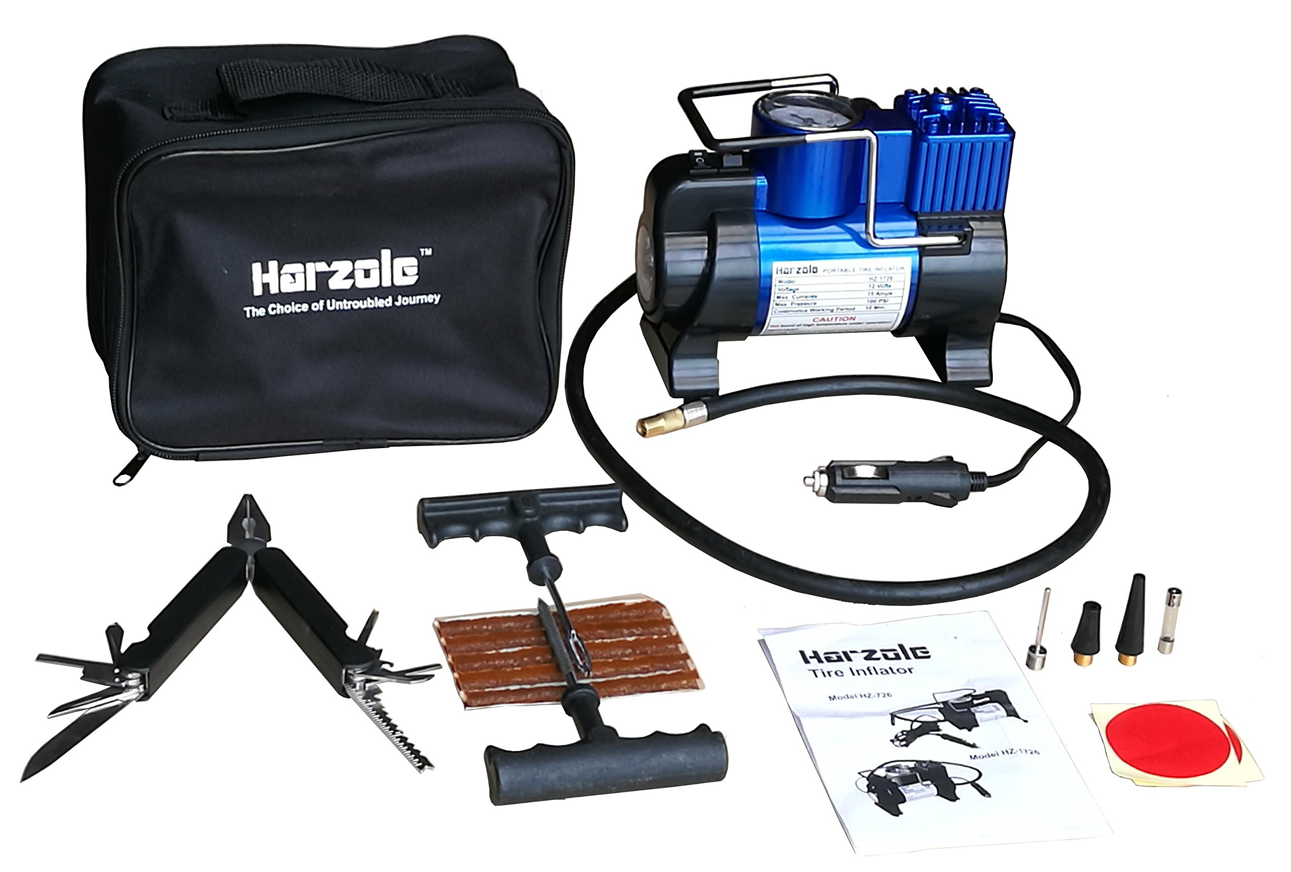 Harzole HZ-1726A DC 12V Car Air Pump, Tire Inflator, Portable Air Compressor Kit with LED Lighter HZ-1726, with tire Repair kit HZ-420A