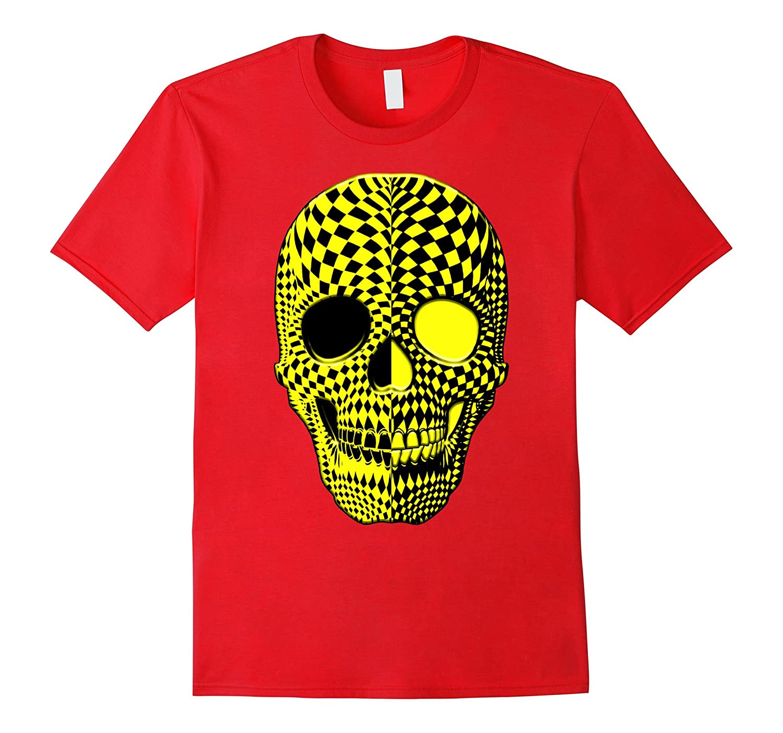 Black and Yellow Human Haunted Scary Halloween Skull Shirt-mt