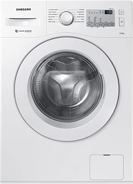 Samsung 6 Kg Fully-Automatic Front Loading Washing Machine (WW60M206KMA/TL, White) Washing Machines & Dryers at amazon