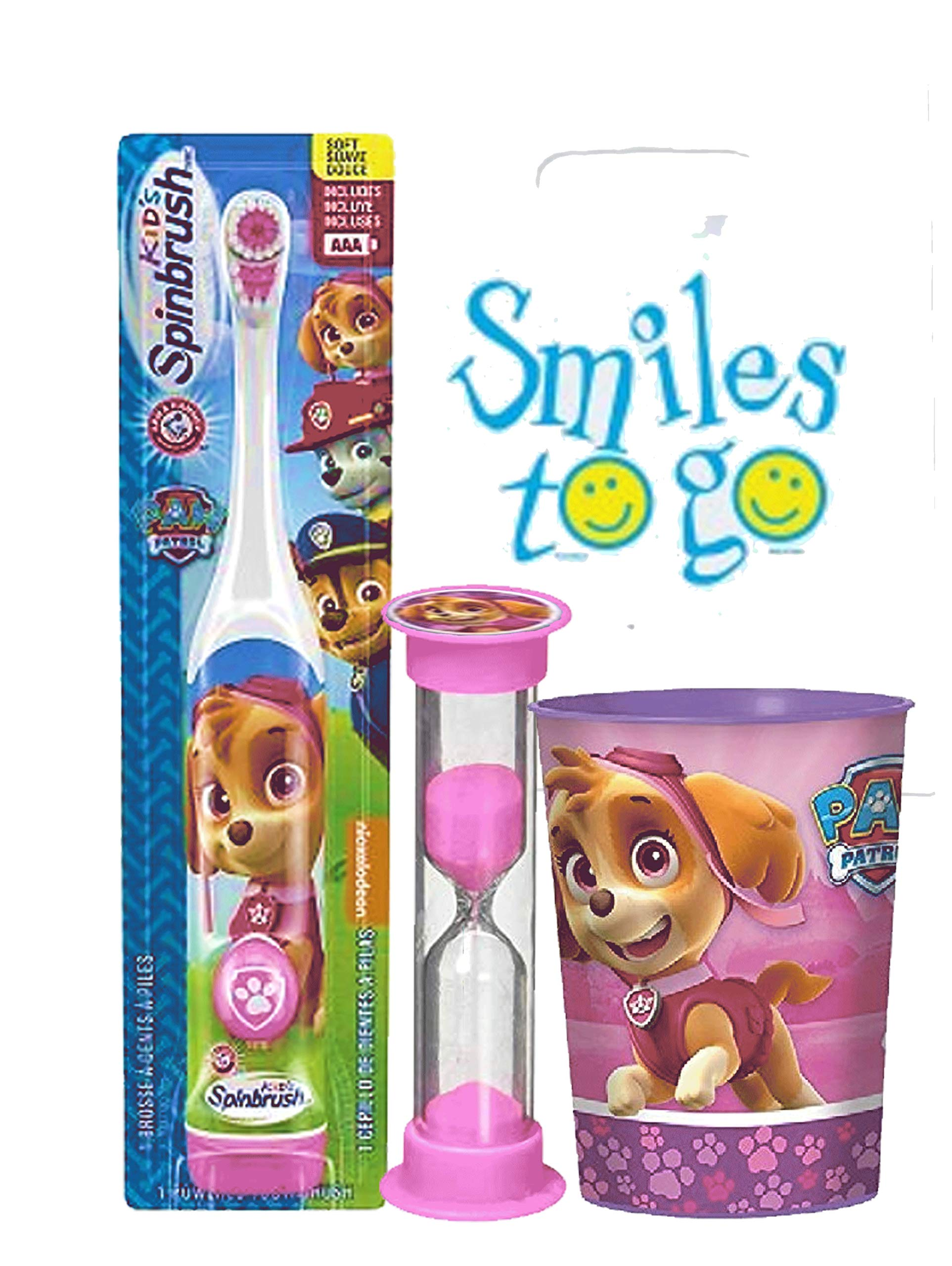 The Paw Patrol Boys and Girls 3pc Bright Smile Oral Hygiene Bundle! Turbo Spin Toothbrush, Brushing Timer & Mouthwash Rinse Cup! Plus Dental Gift Bag & Tooth Saver Necklace! (Skye)