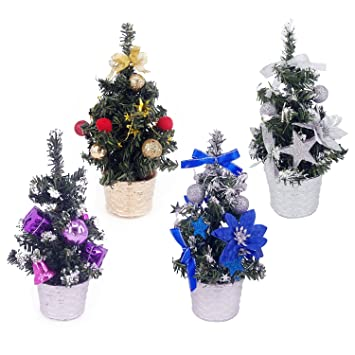 hogoo 9 mini goldsilverpurple and blue christmas tree tabletop decorated christmas - Christmas Tree With Purple Blue And Silver Decorations