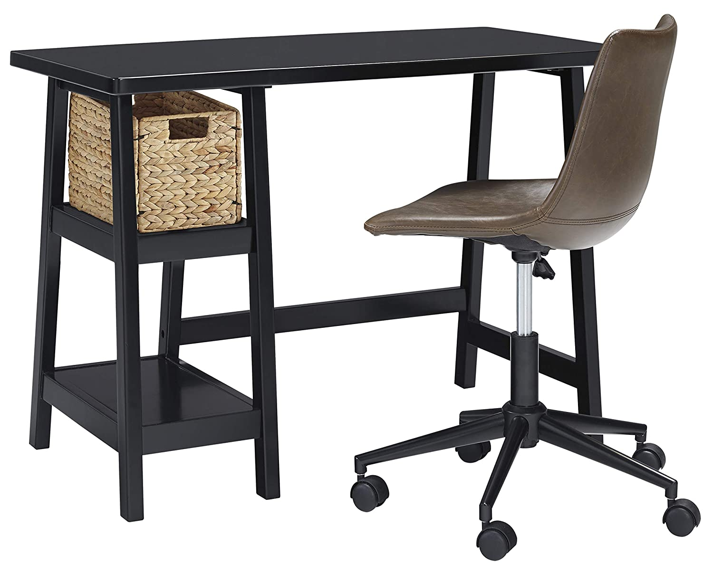 Amazon com ashley furniture signature design mirimyn small home office desk 2 shelves includes brown basket black kitchen dining