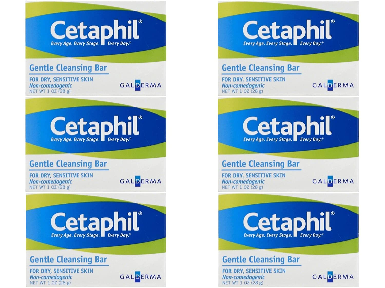 Cetaphil Gentle Cleansing Bar For Dry Sensitive Hypoallergenic 1 Oz Travel Size (Pack of 6)