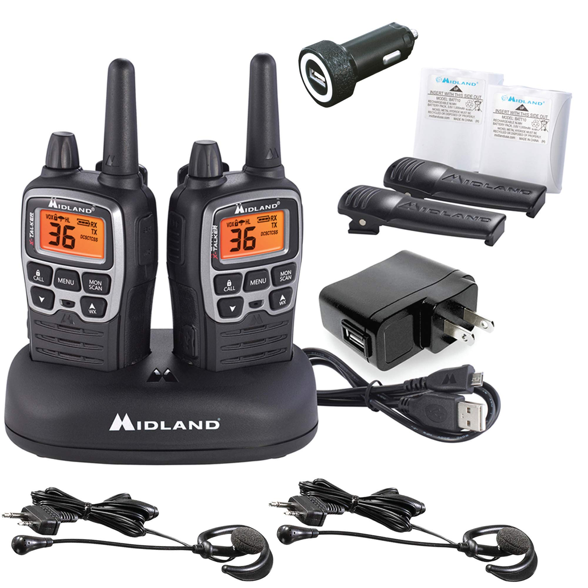 Midland - X-TALKER T77VP5, 36 Channel FRS Two-Way Radio - Up to 38 Mile Range Walkie Talkie, 121 Privacy Codes, and NOAA Weather Scan + Alert (Includes a Carrying Case and Headsets) (Black/Silver) by Midland