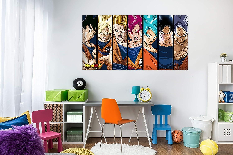 Cuadros PVC Dragon Ball Super Fases de Goku |100x60cm | Producto Oficial y Original | Cuadros Ligero, Elegante, Resistente y Económico | DBS