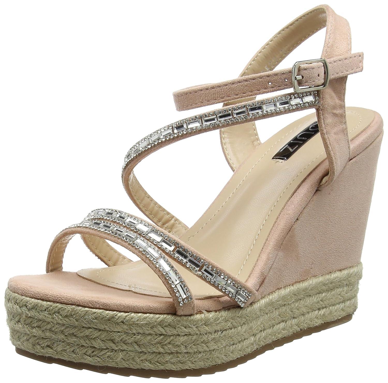 QUIZ Faux Suede Slant Wedge, Zapatos de tacón con Punta Abierta para Mujer