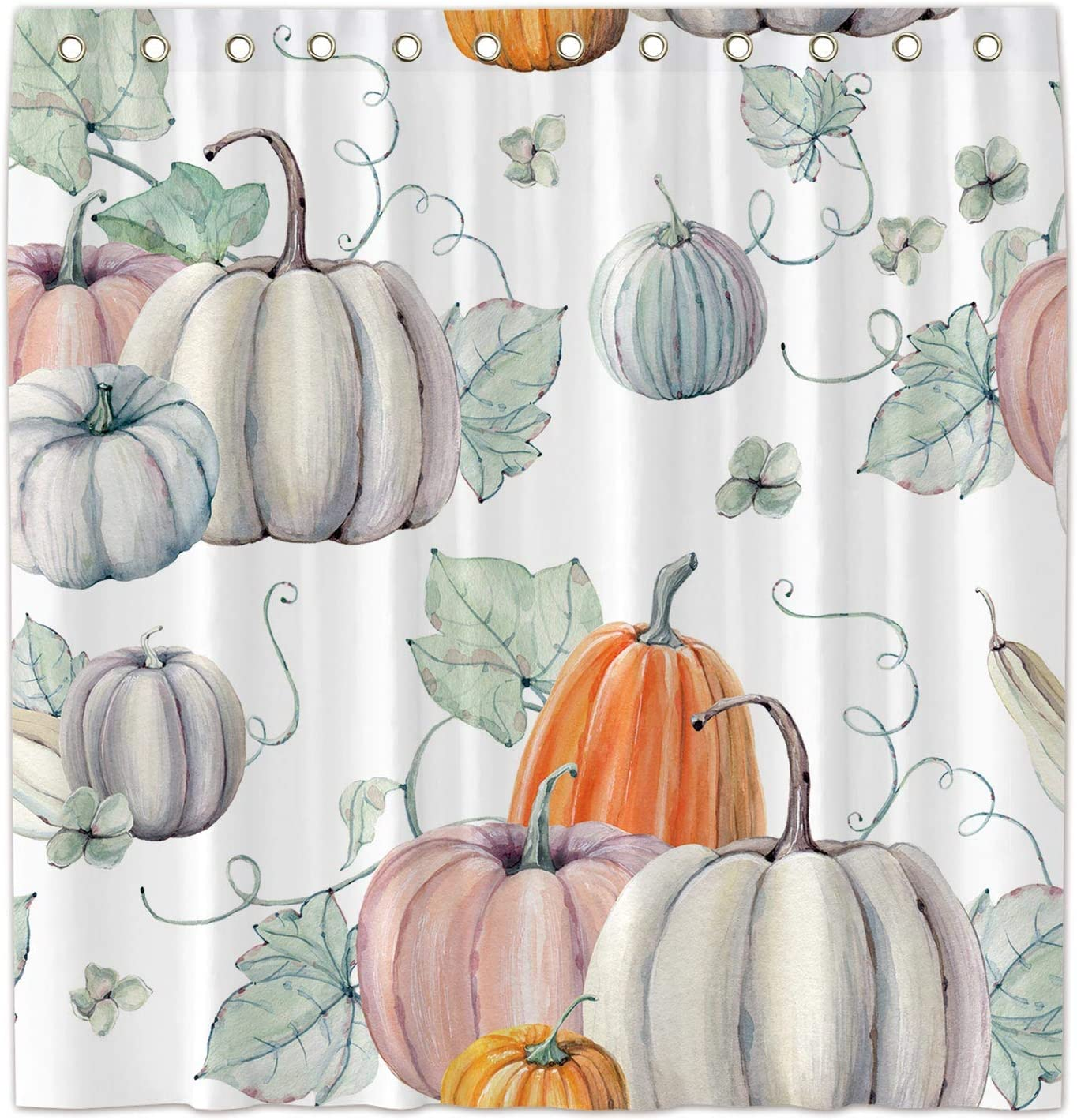 Allenjoy 72x72 Inch Watercolor Pumpkins Shower Curtain for Bathroom Sets Autumn Thanksgiving Home Bath Decor Decoration Customizable Durable Waterproof Fabric Machine Washable Curtains with 12 Hooks