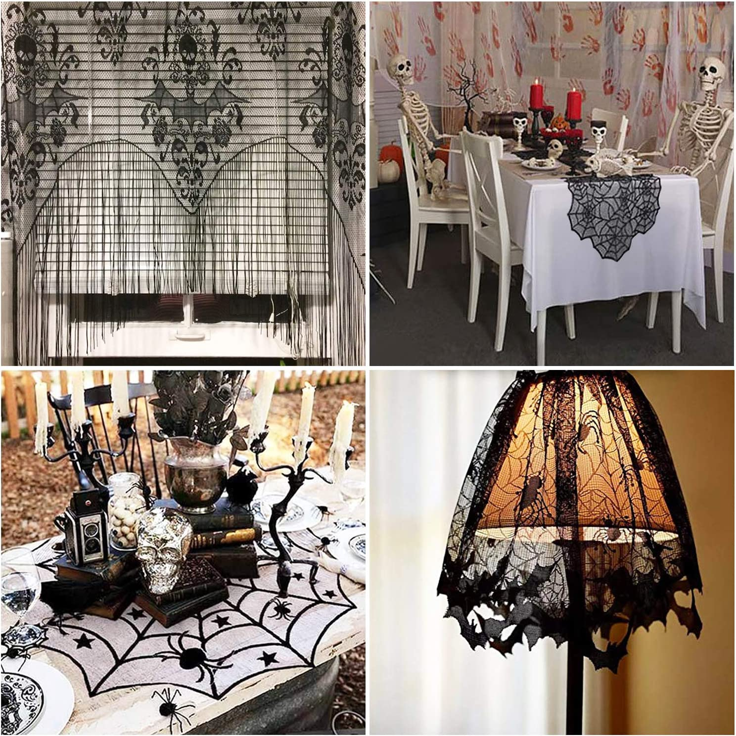 Black Tusenpy 4 Pieces Halloween Spider Web Tablecloth,Spider web Lace Rectangular Tablecloth,Round Lace Table Cover,Halloween Bat Lamp Shade and Translucent Fireplace Curtain