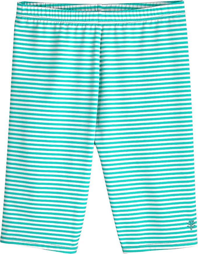 da4da6b5fc2 Sun Protective Large- Pink Blue Medallion Stripe Kids Wave Swim Shorts  Coolibar UPF 50