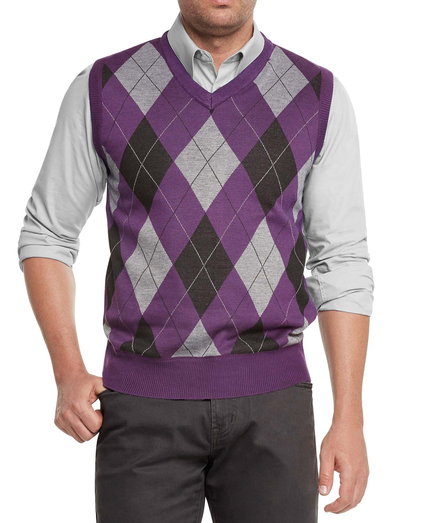 True Rock Men's Argyle V-Neck Sweater Vest-Purple/Blk/Gray-Large by True Rock