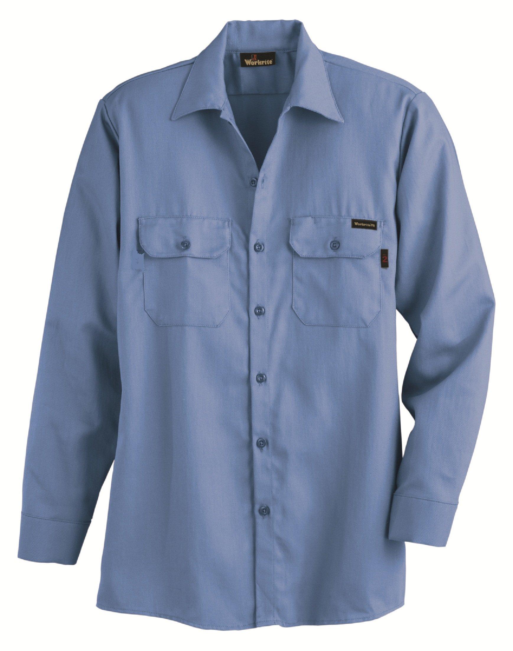 Workrite 231ID70MBXL-0R Flame Resistant 7 oz Indura Long Sleeve Work Shirt, Button Cuff, X-Large, Regular Length, Medium Blue