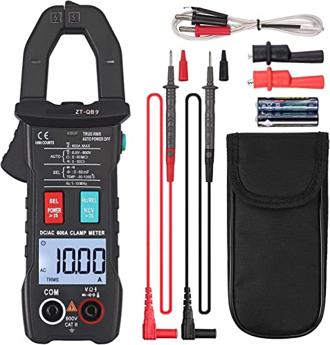 CAMWAY Digital Clamp Meter 600A 6000 Counts TRMS Auto with NCV AC DC Current Voltage, Continuity Tester, Diode, Resistance, Capacitance, Frequency,Flashlight Alligator Clips