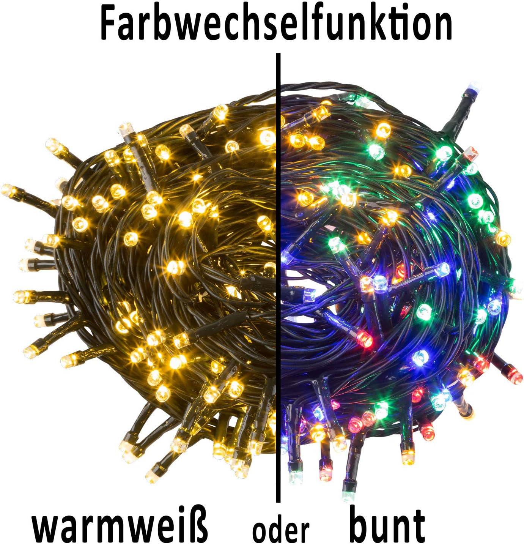 Idena 31098 Farbwechselfunktion in warm wei/ß und bunt ca Deko Hochzeit LED Lichterkette mit 200 LED f/ür Partys mit 8 Stunden Timer Funktion Weihnachten 24,9 m Innen und Au/ßenbereich
