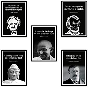 "Large Leader Motivational Posters Set for Classroom Teachers Students Home Office | Set of 5 | 11.7""x16.5"" 
