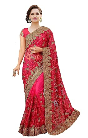 Arohi Designer Net Saree With Blouse Piece Zoharipink