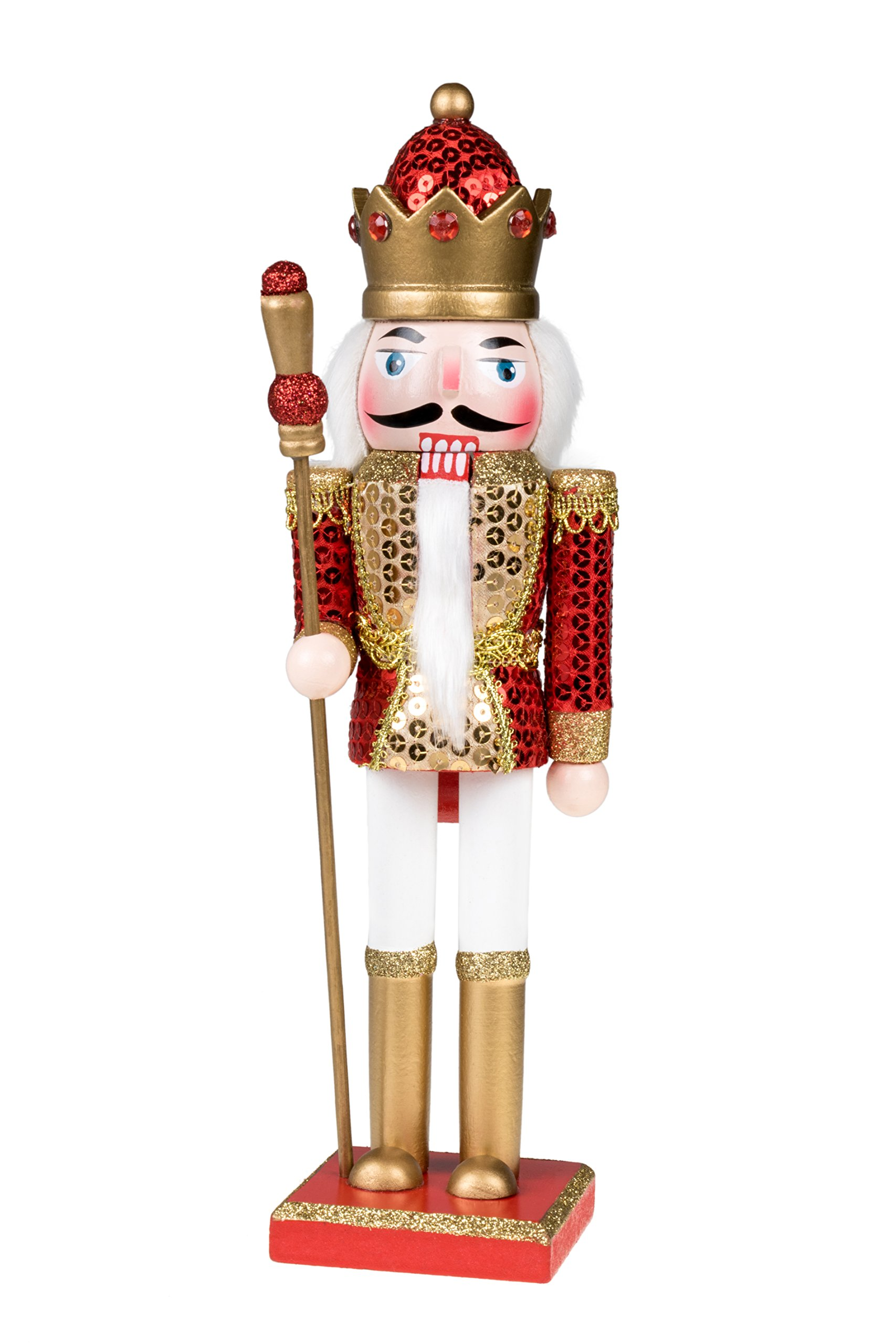King Nutcracker | Traditional Christmas Decor | With King's Royal Scepter | Wearing Red and Gold Sequin Shirt | Perfect for Any Collection | Perfect for Shelves & Tables | 100% Wood | 12'' Tall by Clever Creations (Image #1)